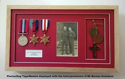 "Medal Frame- REAL WOOD- Display 3 Medals-Title Box- 6x4"" Photo- Dog Tag Box"