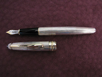 MONTBLANC 144 SOLITAIRE STERLING SILVER FOUNTAIN PEN stylo plume ARGENT MASSIF