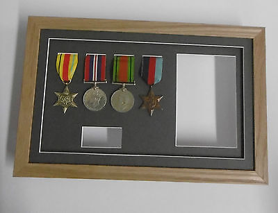 +Medal Frame- REAL WOOD- Displays 4 medals + title box + photo aperture 6x4""