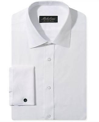 $275 MICHELSONS Men SLIM-FIT FRENCH-CUFF WHITE LONG-SLEEVE DRESS SHIRT 16 34/35