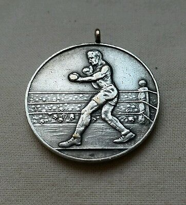 Vintage 1930s 1940s blank reverse boxing medal boxer ring stance
