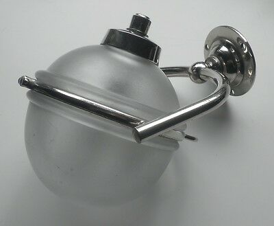 Art deco Liquid Soap Dispenser Frosted Glass Orb Nickel-Plated Brass