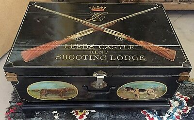 Antique English Artisan-Painted Trunk Chest Coffee Table | Hunt Dog Art
