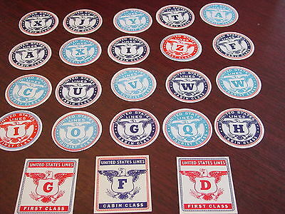 50's 60's SS UNITED STATES LINE ORIGINAL BAGGAGE LUGGAGE LABELS UNUSED 23 PC LOT
