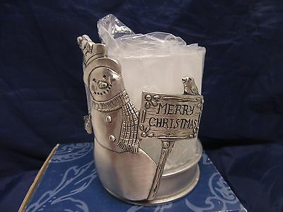Snowman Votive Candle Holder Screen Seagull Pewter Canada- NEW in Box