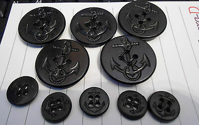 10 LGE/SM US Navy Peacoat MILITARY Blk Anchor ROPE USED Buttons NAVAL NAUTICAL