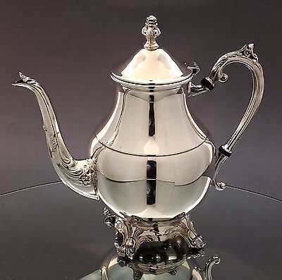 Vintage silver plate large FB Rogers coffee/teapot ornate feet floral spout