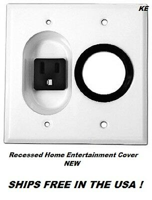 Recessed Home Entertainment Cover  2G Rcsd 15A Feed-Thr Plt  New Ships Free Usa