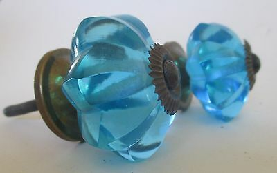 "Set of 2 Vintage Blue Glass Drawer Cabinet Pulls Knobs Crafting 2""x 3"""