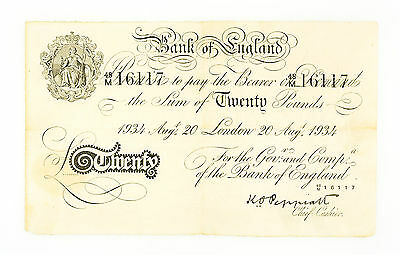 UK Great Britain 20 Pounds 1934 Operation Bernhard Nazi Forgery f- pinholes