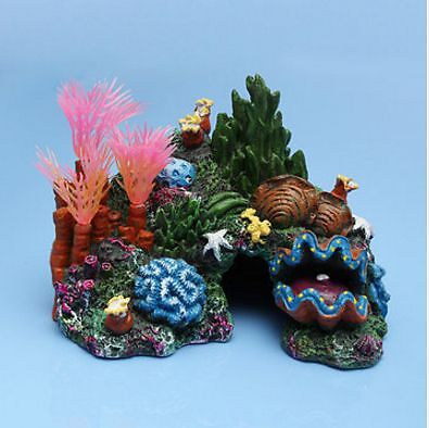 Aquarium Resin Coral Conch Shells Aquatic Plants Rockery Decoration Plant Tank