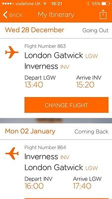 2 x Return Flights London Gatwick To Inverness Over New year