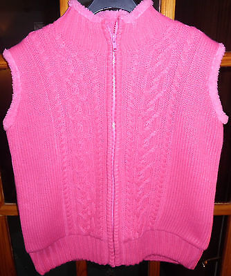 Girls Jacket Gilet Size 9-10 Knitted Outer Fleece Lined Zip Fastened Pink Jpw
