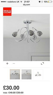 Modern Silver Chrome 5 Way Ceiling Light Fitting Chandelier