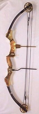 RARE Martin Firecat Pro X Gold Plate & Zebra Wood Compound Bow Right Hand