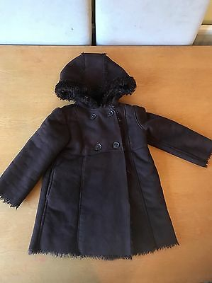 Girls Gap Coat Age 5 Brown Suede Type Excellent And Very Warm