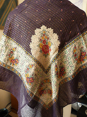 Vintage 1970's Large Square Ladies Cotton Shawl Black with Gold Thread