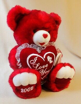 """Dan Dee Snowflake Teddy Red Plush Valentine Bear with """"2002"""" on Foot, 21"""" T"""
