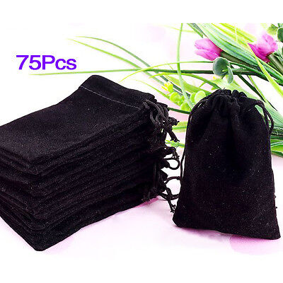 Sunny  75X Black Velvet Drawstring Jewelry Gift Bags Pouches HOT