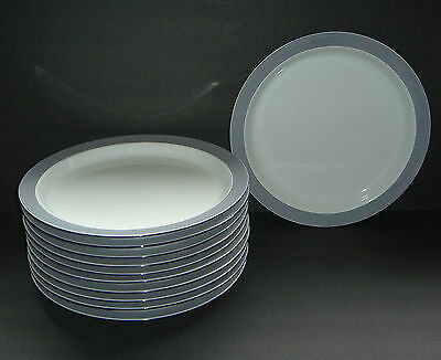 "11 Dansk Bistro RINGSTED Blue Stripe 10 3/8"" Dinner Plates"