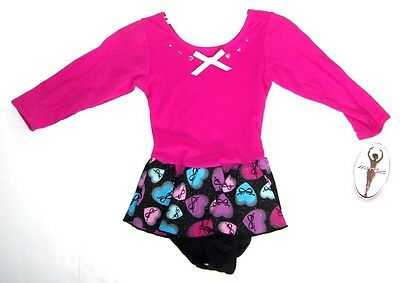 Jacques Moret Girls 3/4 Sleeve Skirtall Dance Leotard NWT 4/5  or   6/7  Hearts