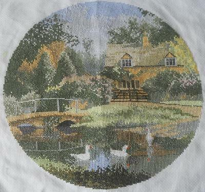Vintage Completed X Stitch Circular Tapestry Cottage By Lake