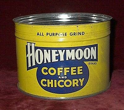 Rare HONEYMOON COFFEE & CHICORY NEW ORLEANS 1 Lb. ADVERTISING TIN ~ CREOLE BLEND