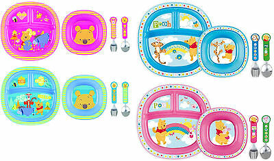 Munchkin Winnie the Pooh Toddler Dining Set - Plate Bowl Cutlery . Blue or Pink