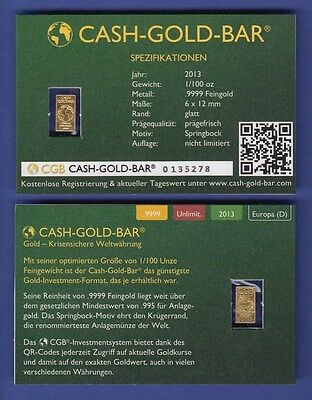 Mini Goldbarren CASH-GOLD-BAR CGB 2013  1/100 Unze Au999 in Gold Coin Card