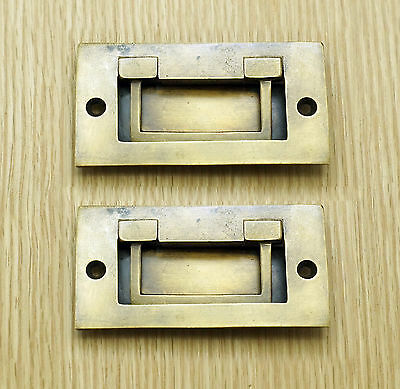 3.46 2 pcs Vintage Flush Lift Horizontal Handle Solid Brass Drawer Handle Pulls