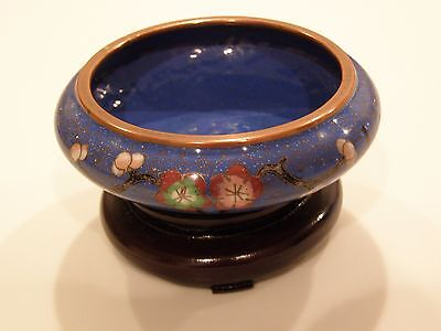 Blue Chinese Cloisonne Bowl With Stand Bowls, Post-1940
