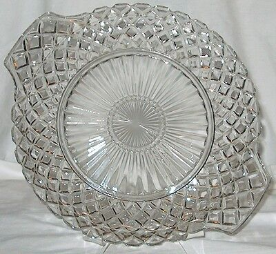 Waterford Waffle Cake Plate w Tab Handles Anchor Hocking Clear Glass Depression