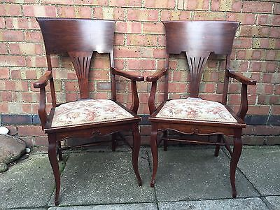 Antique Edwardian Art Nouveau Mahogany Highback Dining Chairs