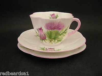 Shelley Thistle Vintage China Trio Cup Saucer Plate Dainty 13820c1940's