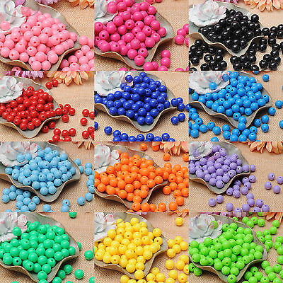 100pc 10mm Pure Color Acrylic Opaque Smooth Round Plastic Beads Jewelry Making B