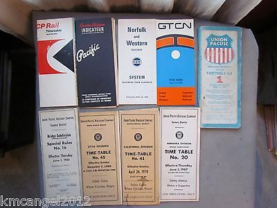 Lot Rr Railroad Ephemera Timetables Union Pacific Cp Gt Cn Norfolk Southern