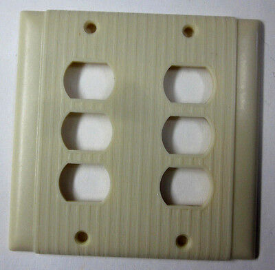 Vintage Uniline Deco Ribbed Bakelite Ivory Despard 6 Switch 2 Gang Cover Plate