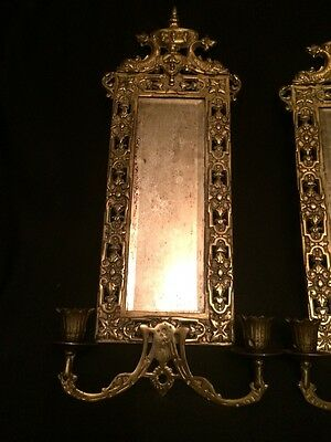 Pair Antique Bronze Wall Candleholders Mirrored Sconces with Dolphins and Crown