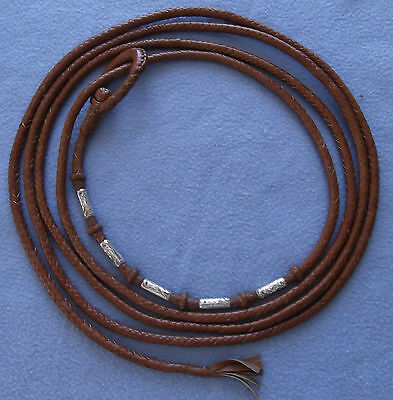 Vintage Braided Leather Lariat, Riata, Reata 7 Strand Rope – Sterling Silver