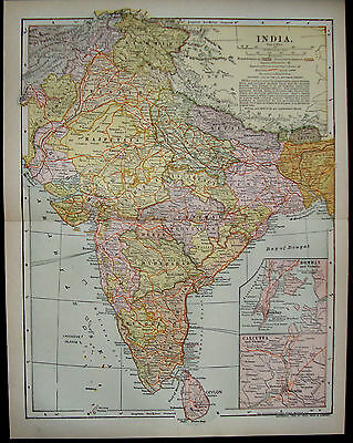 Vintage Map India 1903 Showing Railroads,Canals Elevations (inv205)