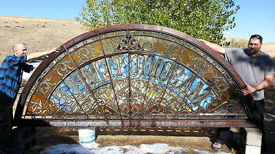 Antique American Stained/Jeweled/Beveled/Zipper Cut Transom, Saginaw, Mi.