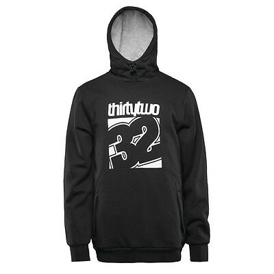 32 Stamped Pullover Hoodie DWR Water Repellent Black Mens Snowboard