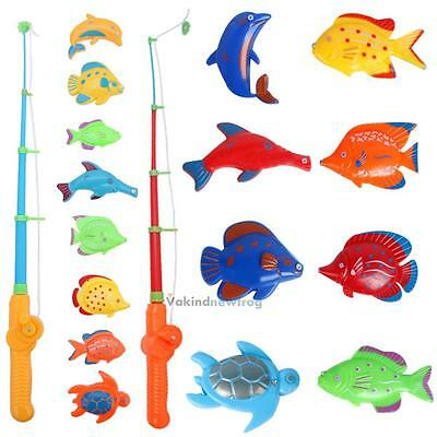 Funny Fishing Rod Magnetic Fish Net Game Set Educational Toy Kids Baby Bath PLAY