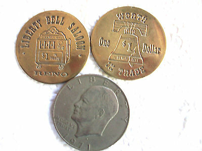 Two Fey Liberty Bell Slotmachine Saloon Brass Tokens, $ in Trade