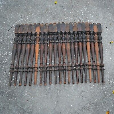 Antique Turned Hardwood Railing Staircase Spindles (21)