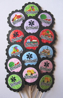 Nutritionist Cupcake Toppers/Party Picks (15pc Set) Item #1266  Nurse/Medical