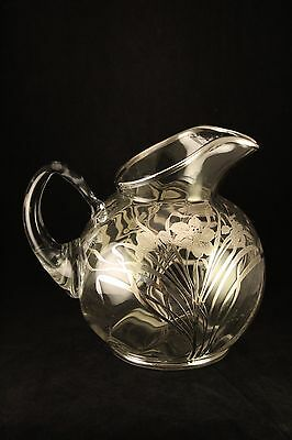 Vtg Antique Sterling Silver Overlay Glass Pitcher With Lily Flowers & Butterfly