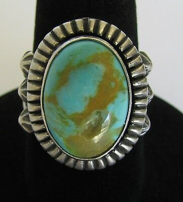Native American Navajo Royston Turquoise Ring Size 6 Signed Running Bear
