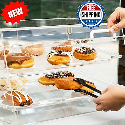 2-Tier Tray Display Case Bakery Cake Pastry Donut Muffin w/ Front and Rear Doors