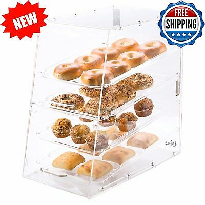 4-Tier Tray Display Case Bakery Cake Pastry Donut Muffin w/ Front and Rear Doors